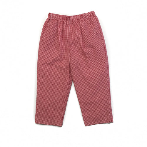 Banbury Red Gingham Long Elastic Waist Lined Pant