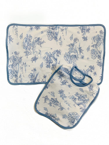 Maison Nola Bib and Burp-Blue