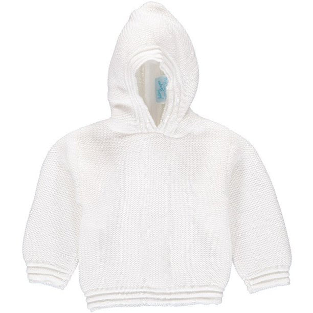 Carriage Boutique White Zip Back Hooded Sweater
