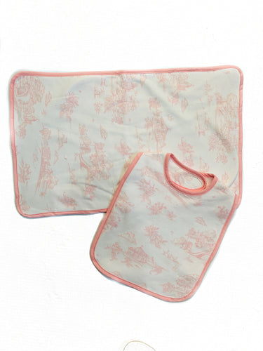 Maison Nola Bib and Burp-Pink