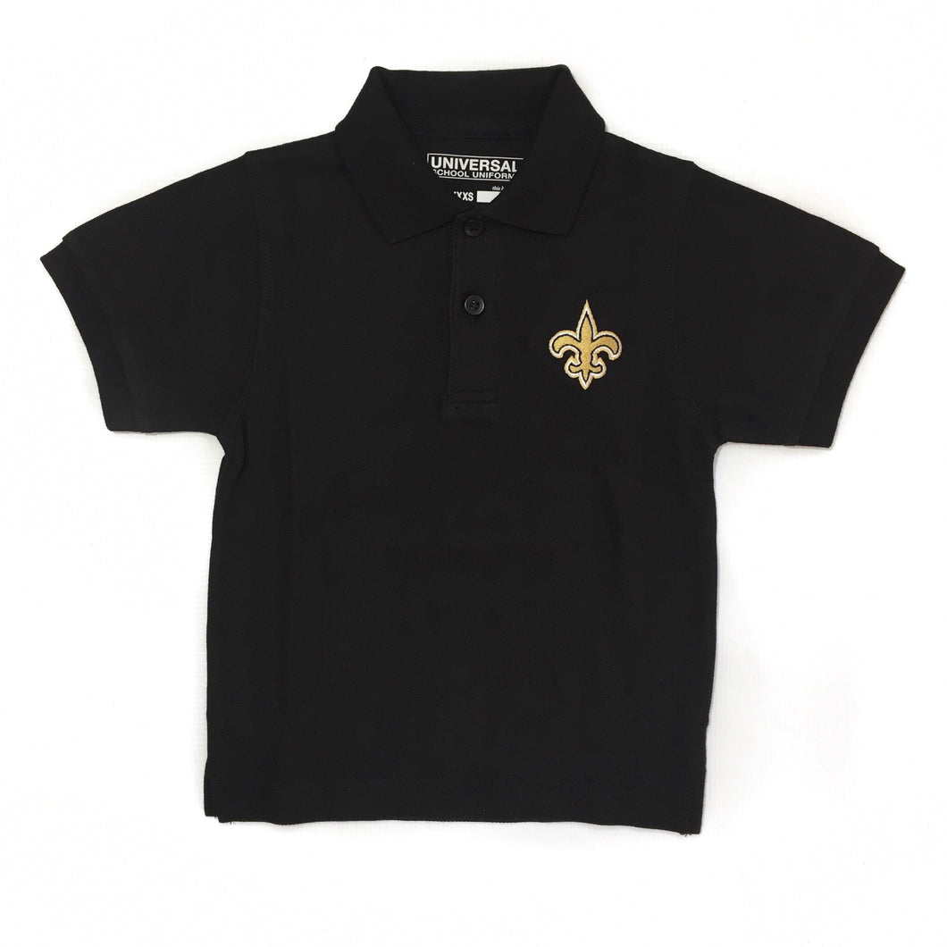 Black Gameday Polo with Gold Fleur de Lis