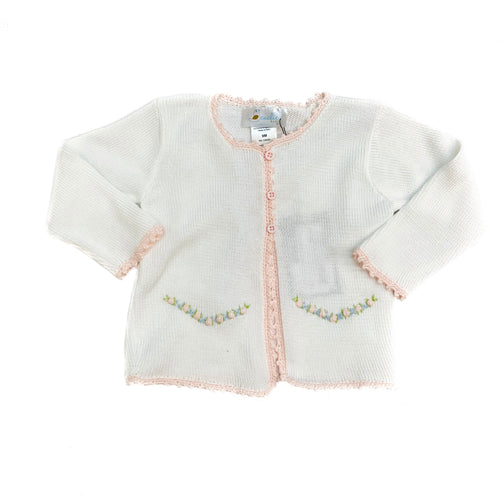 Cuclie Baby Pink and Blue Cardigan-White