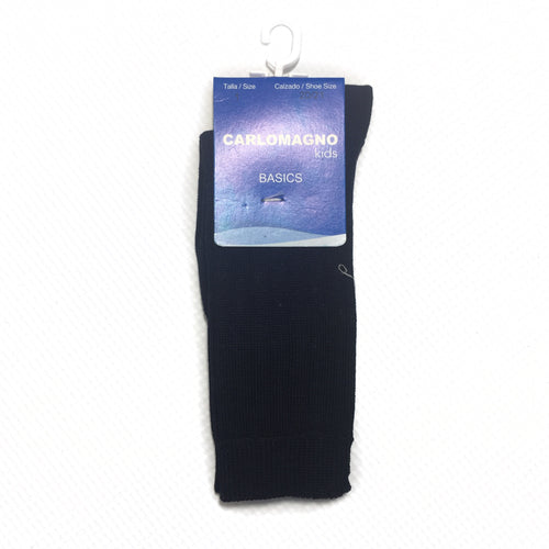 Carlomagno Navy Ribbed Knee High Sock