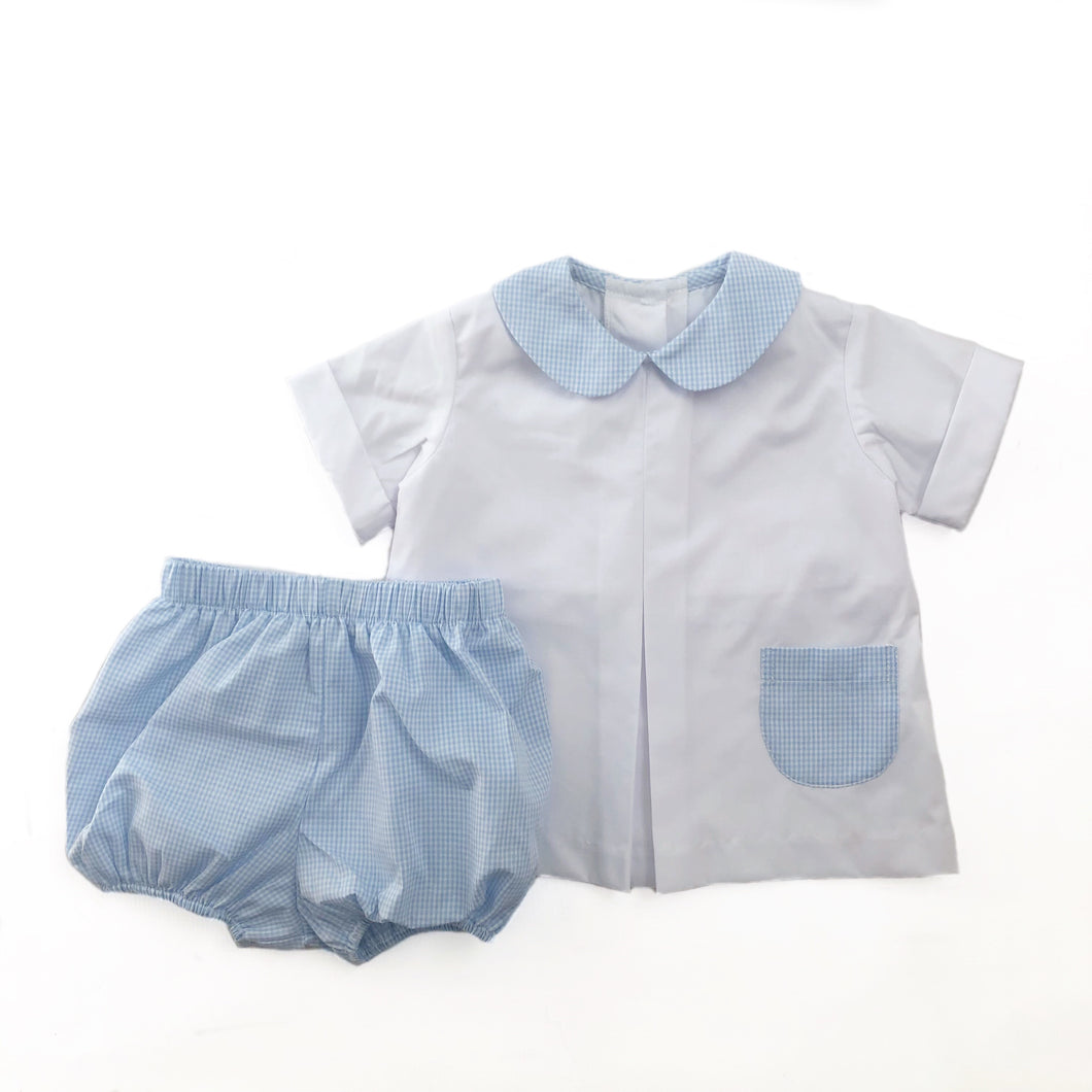 Banbury Cross Light Blue Gingham Boy Bloomer Set