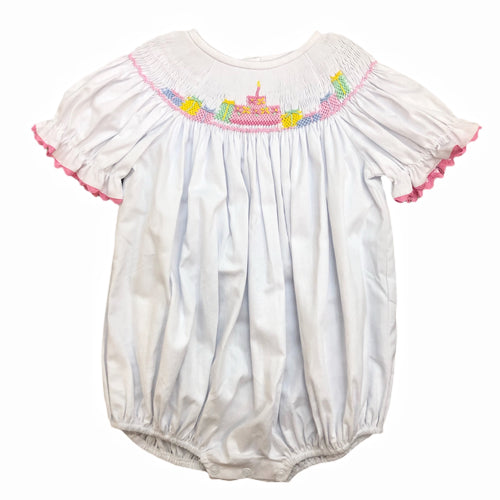 Delaney White Smocked Birthday Bubble