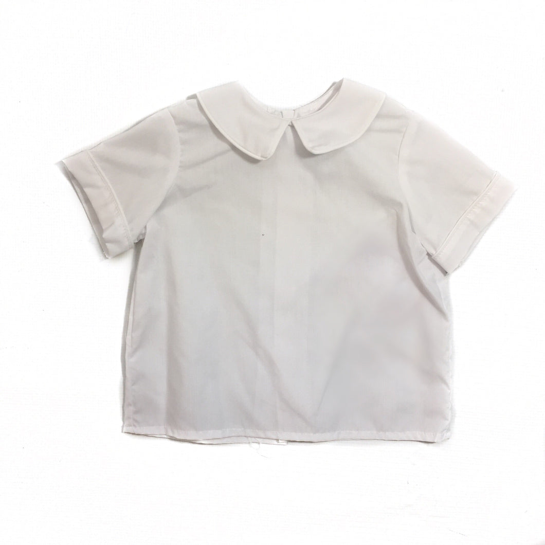 White Woven Short Sleeve Shirt