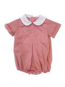 Banbury Boy Pleat Front Red Windowpane Bubble