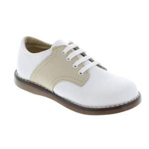 Footmates White & Ecru Cheer Saddle Oxford