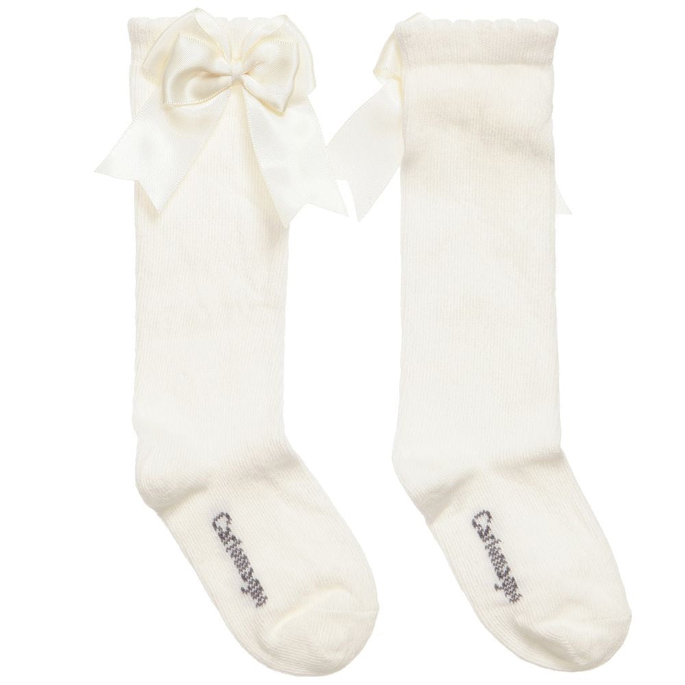 Carlomagno Natural Girls Knee High with Bows