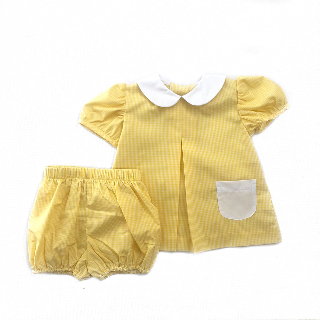 Banbury Cross Yellow Gingham Girl Bloomer Set