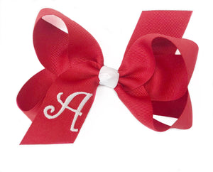 Banbury Medium Monogram Bow Red/White Letter