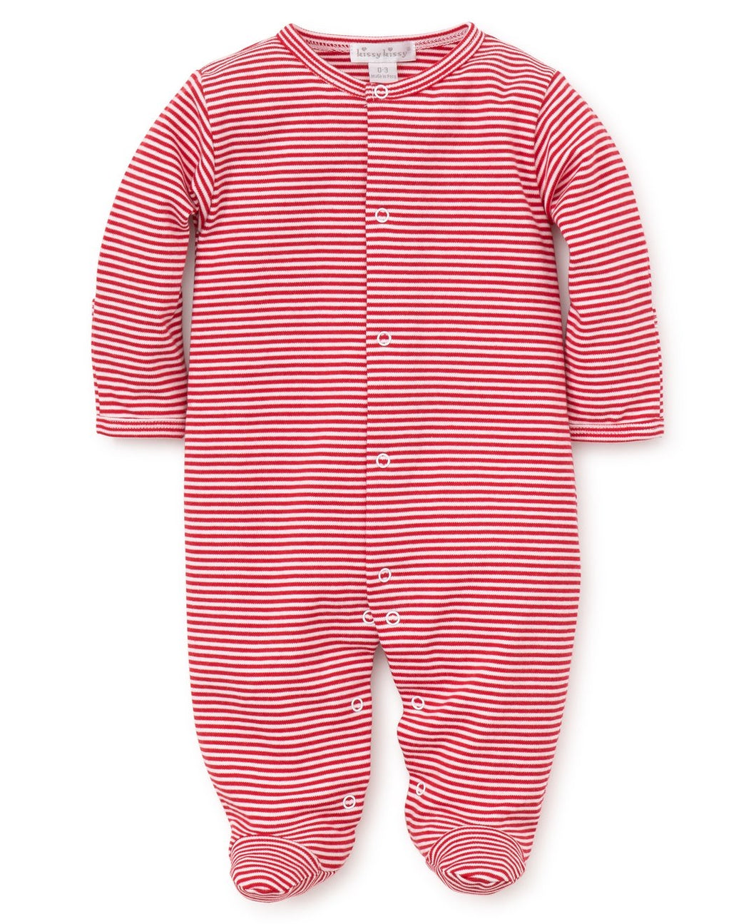 Kissy Kissy Striped Footie Red