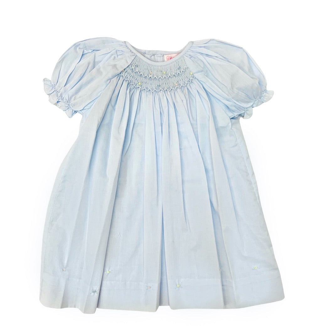 Petit Ami Center Smocked Daygown-Blue