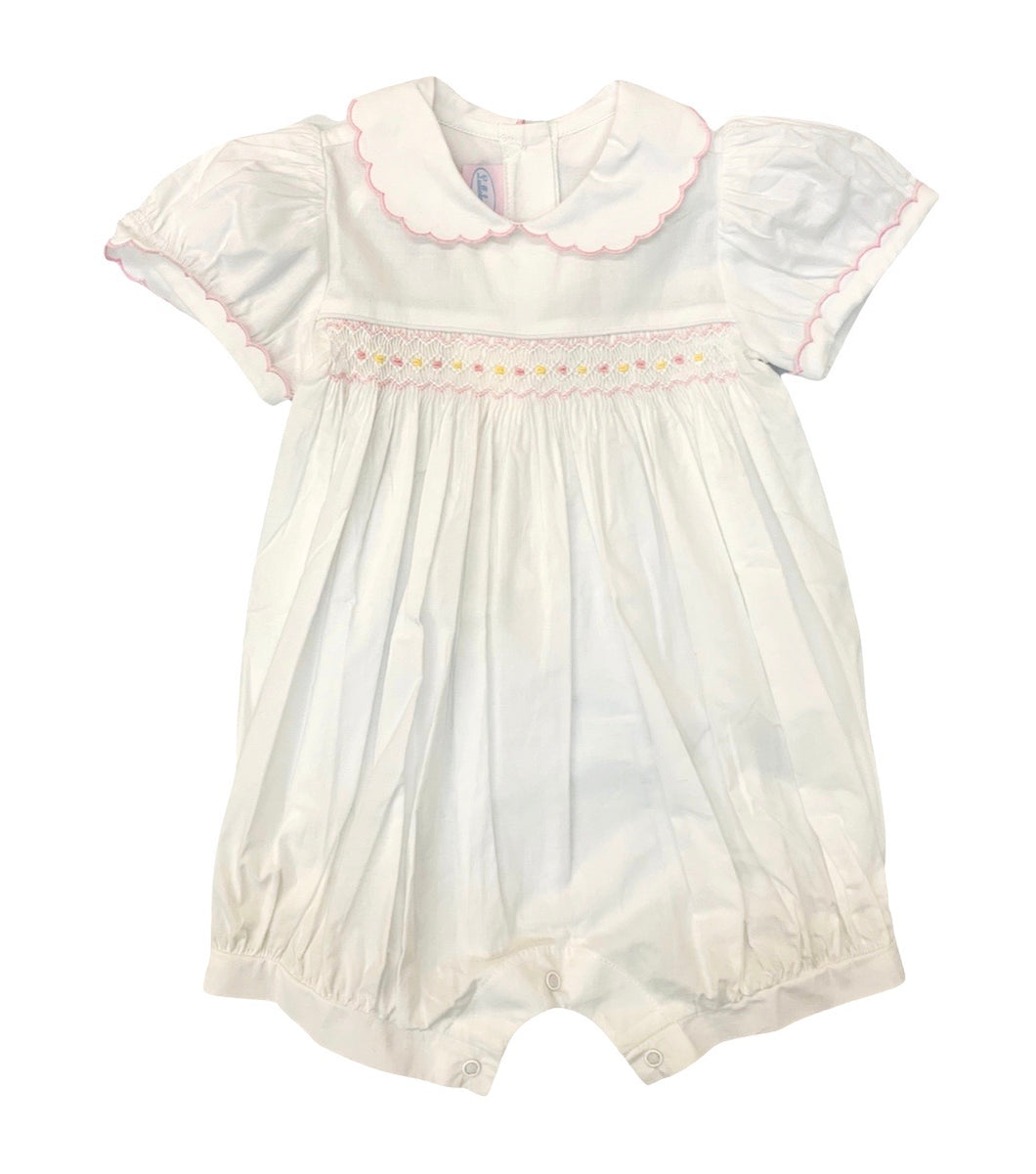 Lullaby White Multi Smocked Bubble