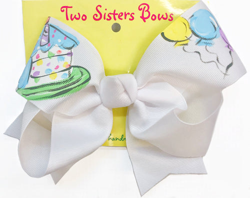 Two Sisters Birthday Cake Bow White