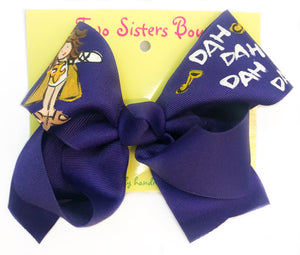 Two Sister Purple Golden Girl Bow