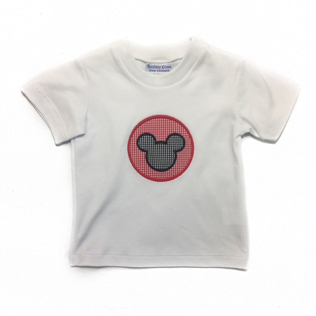 Appliqued T Shirt White Mouse