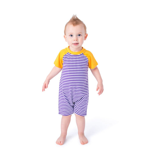 Be Mine Purple/Gold Boy Romper