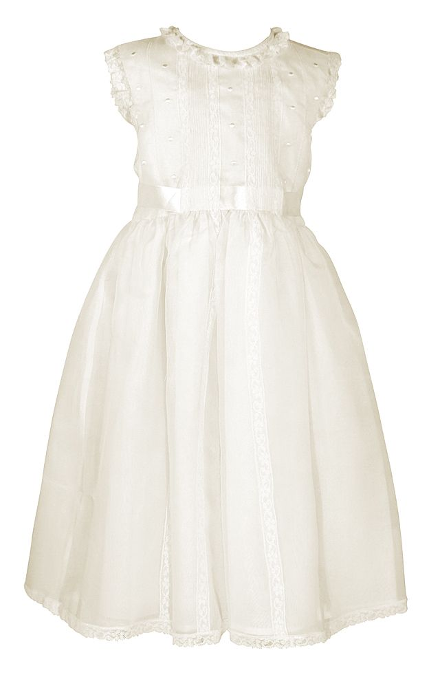 Luli & Me Organza Silk Dress-Ivory