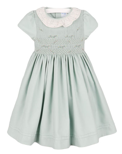 Luli & Me Mint French Knot Smocked Dress