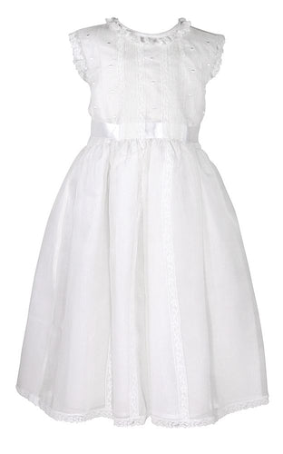Luli & Me Organza Silk Dress-White
