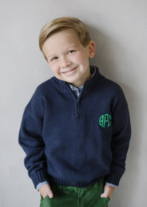 Little English Navy 1/4 Zip Sweater