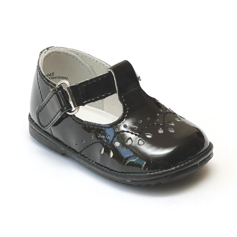 Angel Black Patent Leather T Strap Shoe