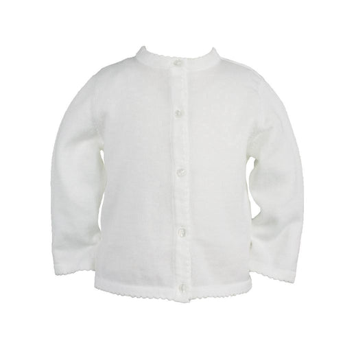 Petit Ami Girl's White Scalloped Cotton Sweater