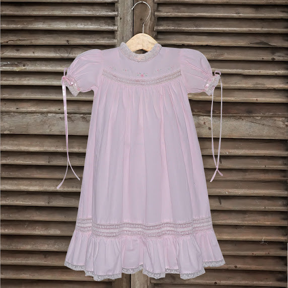 P&R Pink Anna Dress with Lace Insertions
