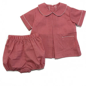 Boy Pleat Front Bloomer Set Red Gingham
