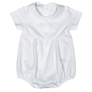 Baby Bliss Solid White Round Collar Knit Bubble