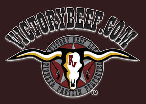 VICTORY BEEF Longhorns, six guns, Trademark Logo