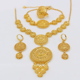 Ethiopian Round Jewelry Set Gold Color Necklace/Earring/Bracelet/Ring