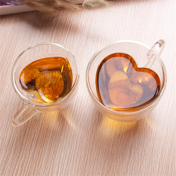 Heart Love Shaped Double Wall Glass Mug Coffee Tea Cups