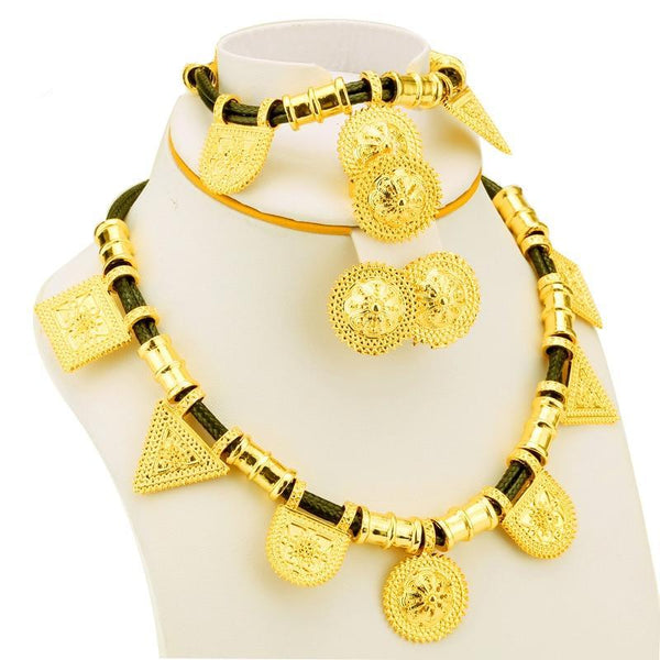 Gold Color Ethiopia /Eritrean Women wedding jewelry sets for Traditional Cloth