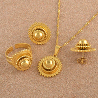 Ethiopian Small set Jewelry Necklace Earrings Ring Gold Color