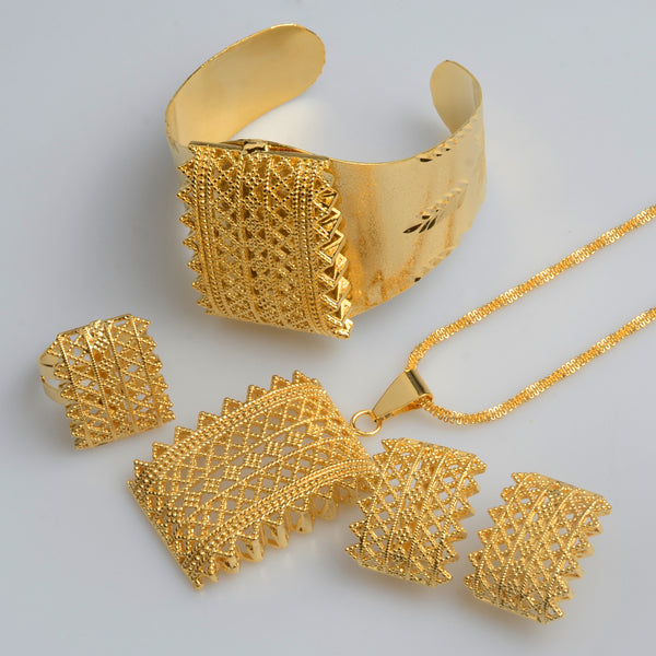 New Ethiopian Eritrean Habesha Gold Color Jewelry sets Wedding Gifts