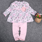 Baby Girl Kid clothing set Peplum Dress+Pants