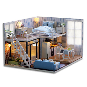 Miniature Dollhouse With Furnitures LED Light House