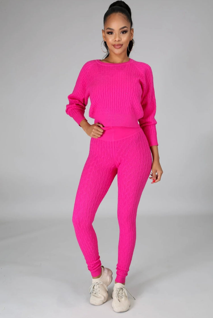 HER Hot Pink Knit Set