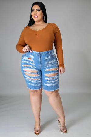 HER Curvy SAVAGE Denim Shorts