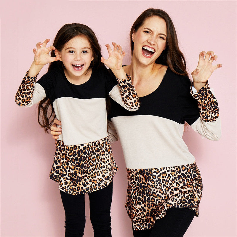 Mommy n Me Leopard Printed Matching Tunic Shirts (Adult)