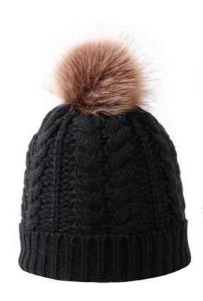 Mommy n Me Single Hairball Knitted Hat (Adult)