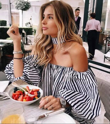 Black & White Stripe Top with Chocker