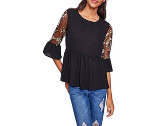 Black Detailed Sleeves Top