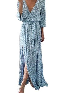 Fashion Polka Dots Maxi Dress with belt