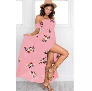 Pink Boho Maxi Dress off the Shoulder