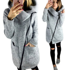 Grey Long Sleeve Turn Down Collar Soft Coat
