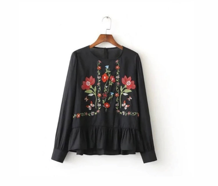 Embroidered Black Long Sleeve Top