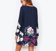Navy Flower Swing Dress